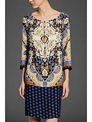 Maxlove Frauen Vintage-Rundhalsausschnitt-Blumendruck-H-Line Kleid