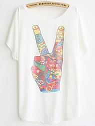 Damen Druck T-Shirt - Baumwolle Kurzarm