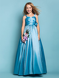 Lanting Bride® Floor-length Taffeta Junior Bridesmaid Dress A-line / Princess Straps Natural with Flower(s) / Sash / Ribbon / Criss Cross