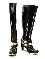 Date A Live Tohka Yatogami Black & Golden PU Leather Cosplay Boots