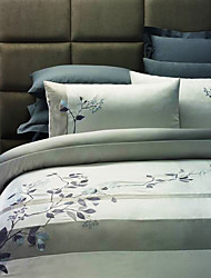 Duvet Cover Set, 3-Piece Country Leaves Embroidery Polyester