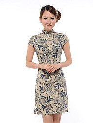 Women's Floral Dress , Vintage Stand Sleeveless