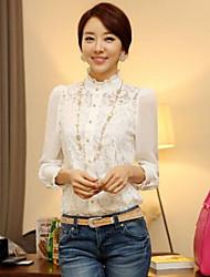 Dentelle de mousseline de soie Slim Fit shirt JFS Corée Sytle femmes