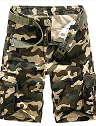 Men's Camouflage Casual Shorts / Sweatpants,Cotton Green / White
