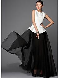 Verragee Puff Hilado vestido elegante (Negro)