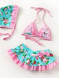 Floral Imprimir Halter Bikini Bow Chapéu da menina incluído Swimwear