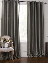 (Two Panels) Modern Fancy Solid Floral Blackout Embossed Curtain