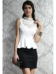Women's Work Sexy Lace / Black and White Dress,Solid Knee-length Sleeveless White Polyester All Seasons