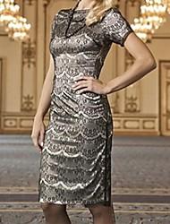 Women's Brown Dress , Lace Bateau Short Sleeve