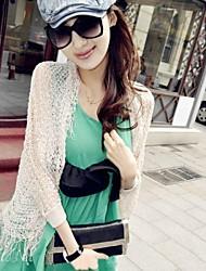 Women's Solid Beige Blouse , Asymmetrical Long Sleeve Hollow Out/Tassel