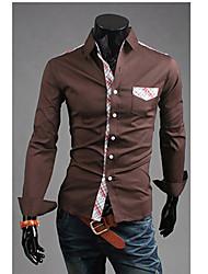 Vska Hombres Check Print Shirt Ocio Brown
