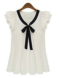 Duoyisi Frauen Korean Bow Short Sleeve Chiffon Shirt (weiß)