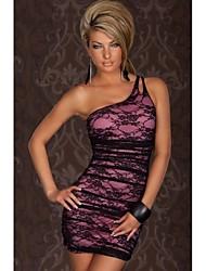 Mujeres sexy de encaje Vestido ajustado de un hombro