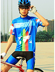 Uomo CoolChange manica corta in poliestere traspirante Blu Ciclismo Suit (colore casuale per Pad)