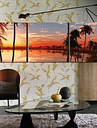 Stretched Canvas Art Landscape Off The Coast of The Evening Set of 3