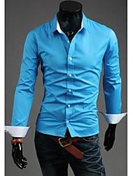U2M2 Herren Beruf Blau Revers Hals Schnalle Casual Shirt
