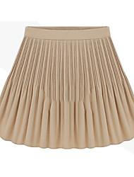 Women's Vintage High Waist Pleat Hemline Chiffon Skirt