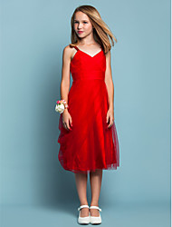 Knee-length Tulle Junior Bridesmaid Dress Sheath / Column Spaghetti Straps Empire with Side Draping / Criss Cross / Ruching