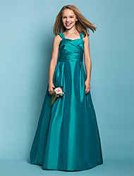 Lanting Bride® Floor-length Taffeta Junior Bridesmaid Dress A-line / Princess Square / Straps Natural withSash / Ribbon / Criss Cross /