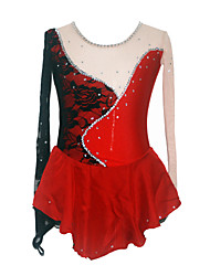 Girl's High Spandex Figure Skating Dress (Black + Red)