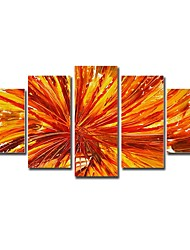 Hand Painted Oil Painting Floral Red Flower with Stretched Frame Set of 5
