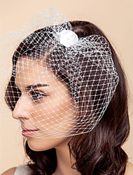 Wedding Veil One-tier Blusher Veils Birdcage Veils Tulle White Black A-line, Ball Gown, Princess, Sheath/ Column, Trumpet/ Mermaid