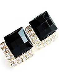 Brincos Curtos Safira Gema Preto Natural Moda Jóias de Luxo Europeu Gema imitação de diamante Liga Jóias Para Festa Diário Casual