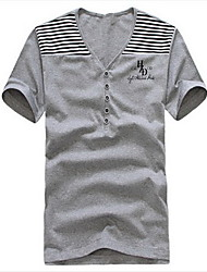 Men's Striped Casual T-Shirt,Cotton Short Sleeve-Black / Green / White / Gray