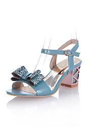 Damenschuhe - Sandalen - Kleid - Kunstleder - Blockabsatz - Absätze - Blau / Silber / Gold