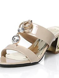 Leatherette Women's Chunky Heel Slide  Sandals With Rhinestone Shoes (More Colors)