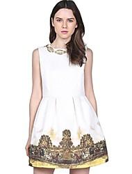 Women's White Sleeveless Bead Vintage Floral Dress