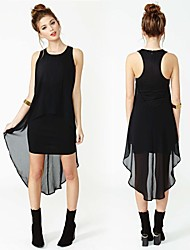 Women's Solid Black Dress , Sexy Round Neck Sleeveless