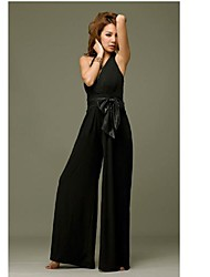 Women's Loose / Bootcut Jumpsuits,Going out Solid Halter Sleeveless