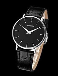SINOBI Herren runden Zifferblatt Slim Case Leder-Band-Armbanduhr Quarz Analog (verschiedene Farben)