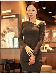 женская асимметричный длинный рукав Bodycon мини-платье