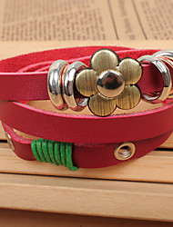 QINUO Red Flower Bohemian Multilayer-Leder-Armband