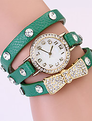 Koshi 2014 Bow Tie Diamonade en cuir 3 ronde de Women Watch (vert)