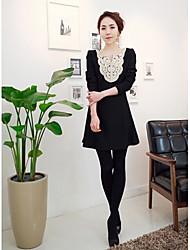 Frauen koreanischen Stil Einfache Design Silk Floral Saum Lady Dress