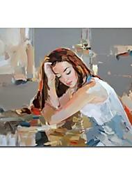 Peinture à l'huile peinte à la main Personne humaine Pop Art Fille de pensée avec cadre étiré