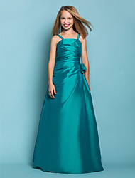 Lanting Bride® Floor-length Taffeta Junior Bridesmaid Dress A-line / Princess Spaghetti Straps Dropped with Flower(s) / Side Draping
