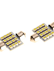 31mm 16 LED SMD Festoon Dome Light Reading Bulbs Pathway Light  White blue for Motorcycle 2PCS