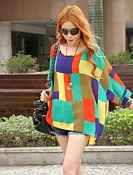 Women's Patchwork Red/Yellow Blouse , U Neck ¾ Sleeve