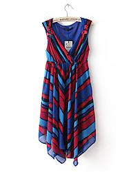 Style européen rayures Irrugular Robe sans manches Hem Laurel femmes (écran couleur)