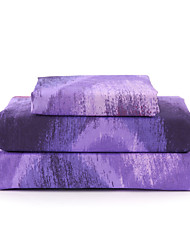 "Sheet Set,4-Piece Microfiber Wave Pattern Purple with 12"" Pocket Depth"
