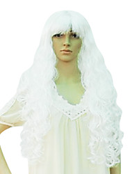 Long White Synthetic Wavy Wig
