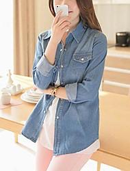 Women's Blue Denim Top , Casual Long Sleeve