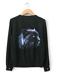 Women's Black Jackets , Casual/Print/Plus Sizes Long Sleeve