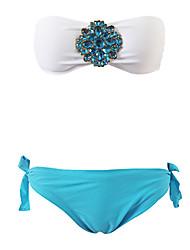 Mulheres Bandeau Bikini Rhinestone