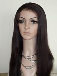 18 pouces Yaki droit Indian Remy Hair Dark Brown pleine perruque de lacet 130 Densité de cheveux de bébé dans Autour
