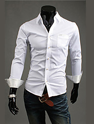 bote der Männer Hemdkragen Polka Dots Langarm-Shirt